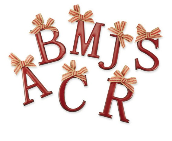 5 inch red metal letter stocking hanger ornaments