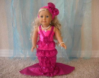 4 pc.Pink  Mermaid Costume for 18 inch doll