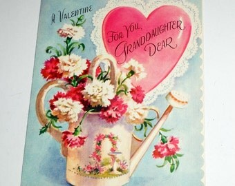 Vintage Valentine - Granddaughter Valentine - Valentines Day Card for Granddaughter - Floral Valentine Card - 1950's Valentine - Unused