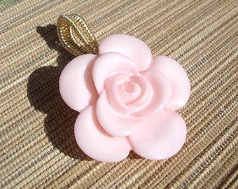 Light pink rose button pendant, wire wrapped large opening bail handmade
