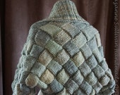 On Sale, Basket Weave Shrug Sweater, Womans Entrelac Shrug Sweater,  Multi Green Shrug, Hand Knitted Sweater