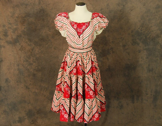Vintage 50s Western Dress 1950s Red White And Blue Western