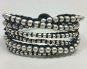 SixTwist Bracelet in Black with Silver Beads