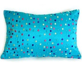 Blue Polka Dots Pillow Cover, Whimsical Pillow, Turquoise Blue Cushion Covers, 12x18, 16, 18 inch
