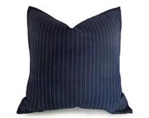Mens Dark Blue Pinstriped Pillow, Navy Blue Denim Pillow Cover, Man Cave Masculine Sofa Pillow, Menswear Inspired Decor, Lumbar 18x18, 20x20