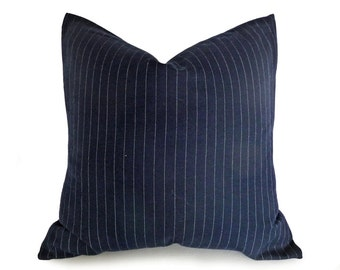 Mens Dark Blue Pinstriped Pillow, Navy Blue Denim Pillow Cover, Man Cave Sofa Pillow, Menswear Inspired Decor, 18x18, 20x20, 22x22, 24x24
