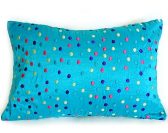 Whimsical Blue Pillow, Blue Throw Pillow, Turquoise Blue Pillows, Polka Dot Pillow Cover, Embroidered Dots, Lumbar 12x18, 16, 18, SALE