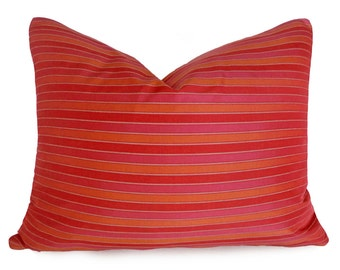 Red Pink Orange Pillow Covers, Boho Pillows, Vibrant Bold Striped Pillow, Textured Stripes, Red Orange Cushion Cover, Lumbar,  18, 20, 22
