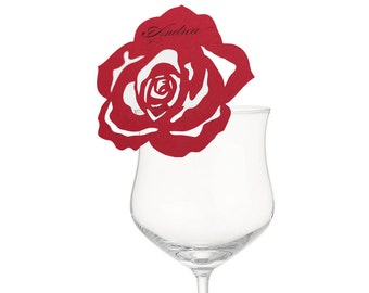 Rose Place Cards - glass, flower, rose, cutout, placecard