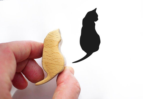 Cat Stamp from Wood, Animal Rubber Stamp for Card Making or Scrapbooking Stamp