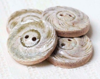 Wood Fired Clay Stone Spiral Buttons - Stoneware - Pottery - Ceramic - Handmade