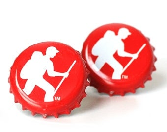 Red Vermont Hiking Long Trail Beer Bottle Cap Cufflinks Cuff Links