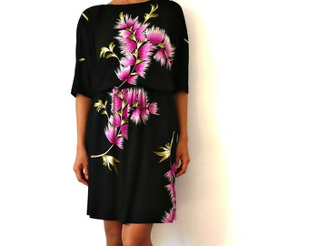 French Vintage 70s Dolman Dress with ink Flowers Mini Dress