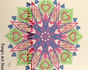 "3 Layers Mandala Style Paper Cut -003, Three layered cuttings, color combined paper cuttings. 8"" x 8"" paper cut, unframed, fit 10""x10"" frame"