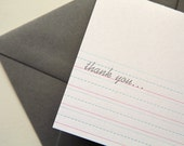Writing Thank You letterpress printed notecard