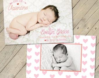 Custom Photo Birth Announcement - Meet Our Valentine