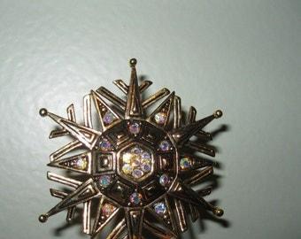 Vintage J. J. Snowflake AB Rhinestones Pin Brooch