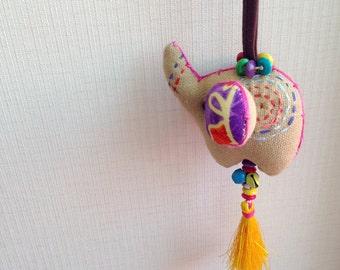 Elephant Keychain, Elephant Key chain, brown, fabric elephant, fabric keychain, bag decoration, plush elephant, fringe, colorful, children