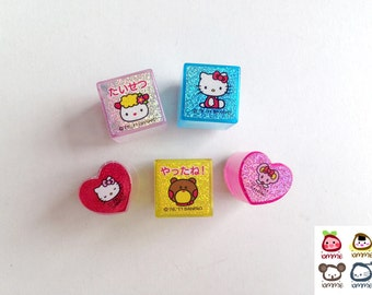 Hello Kitty Stamp, Sanrio, cat, rubber stamp, pink, yellow, blue, red, card decoration, sheep, bear, kitten, mouse, japan, set of FIVE