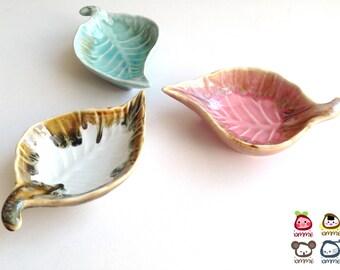 Pink Ceramic Leaf Bowl, ceramic plate, dish, leaf dish, sauce, small, ceramic bowl, decoration, decor, decorative, brown, ceramic dish