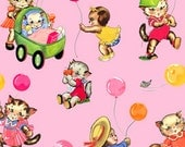 Pam Kitty Picnic Pink Multi Balloons and Kittens Cotton Fabric by Holly Holderman for Lakehouse Dry Goods