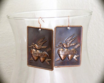 TE AMO -  Sacred Heart Intricate Copper Milagro Earrings- Perfect gift for Valentine's Day