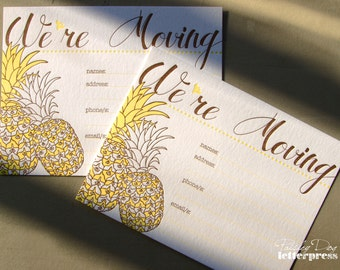 """Letterpress Pineapple """"We're Moving"""" Announcements"""