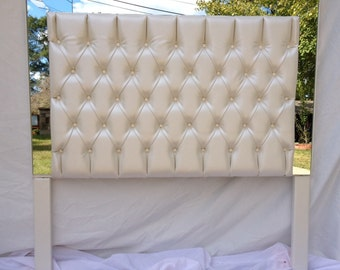 Ivory Faux Leather Tufted Headboard Upholstered Headboard with Mirrors Headboard with mirrors faux leather tufted headboard ivory off white