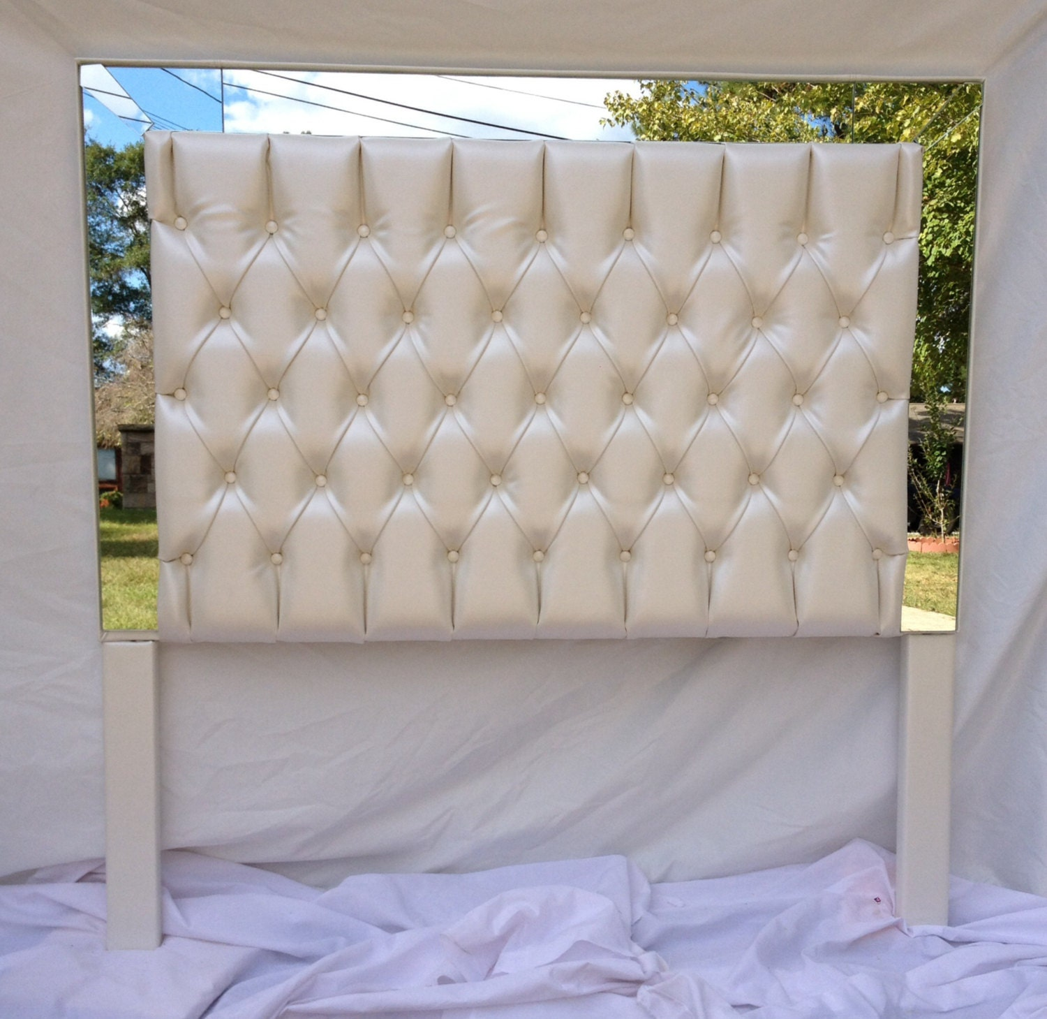 Ivory faux leather tufted headboard upholstered headboard with for Fake headboard