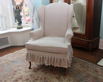 slipcovered wingback chair french linen ruffle shabby chic paris slipcover tan oatmeal cottage custom order
