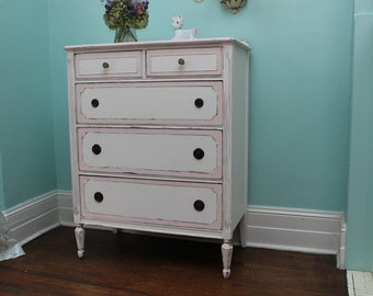 custom order Antique Dresser Shabby Chic pink white distressed vintage Cottage prairie sold custom order