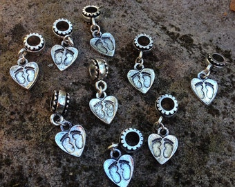 Miscarriage Memories Footprints on Heart Charm, Pendant, Babyloss (set of nine)