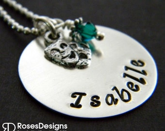 Personalized Theatre Necklace, Drama, Theatre Teacher, Comedy, Mask Necklace, Actor, Thespian, by RosesDesigns