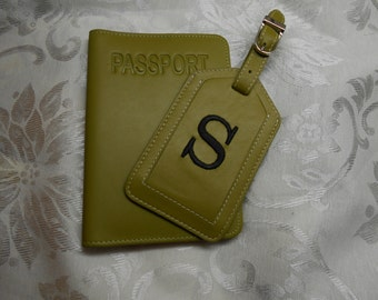 Leather Passport Cover and Luggage Tag in Moss Green