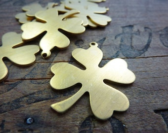 Brass Blank Four Leaf Clover Shamrock Stamping with Loop Clover Charm (1)