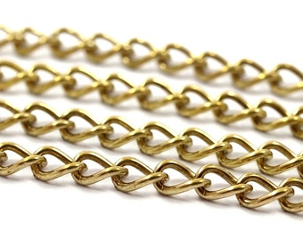 Link Chain, Cable Chain, 5 M. Open Link Raw Brass Chain (6.3x4mm) Or634