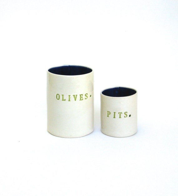 olives and  pits  ...  ceramic containers