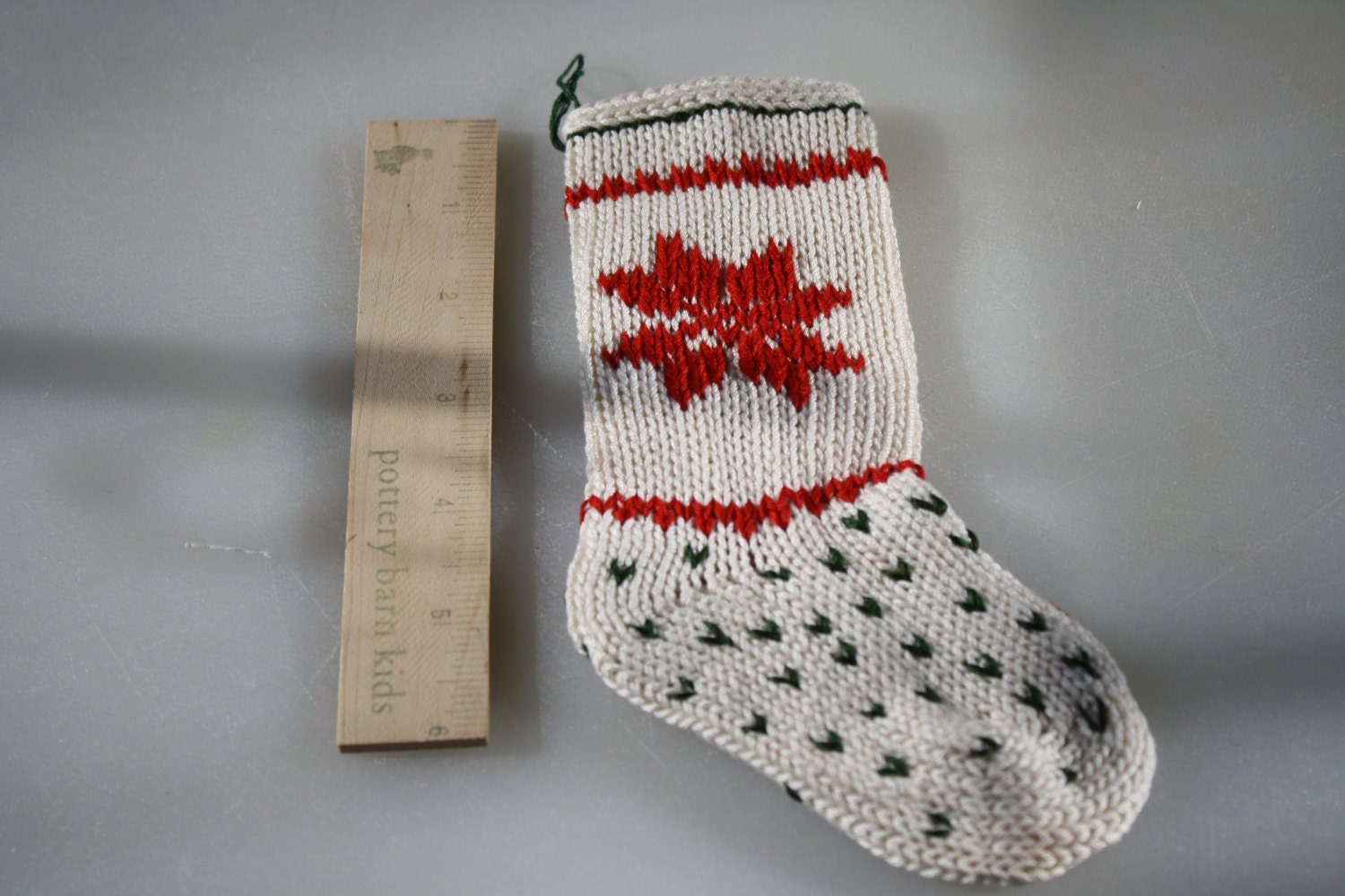 Mini Knit Christmas Stocking embroidered handsewn gifts crafts needlework