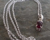 Garnet January birthstone silver pendant