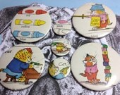 Richard Scarry toddler nursery school vintage illustration pin badge set x 7 from original 1970's Annual,Red Mutha baby shower kitten cat