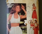 Butterick 4855 Young Junior teen Halter Top Skirt Pants Shorts and Stole Sewing Pattern - UNCUT size 9/10 Uncut