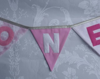 Pretty pink High Chair Banner Bunting with age years Handmade Fabric ideal for a Birthday Party or Photo prop Custom Made to order