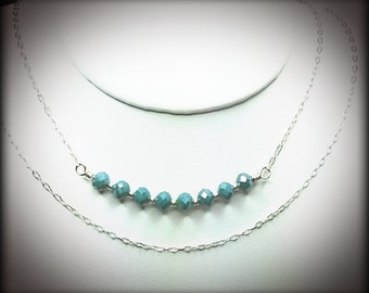 Teal faceted glass and sterling silver necklace