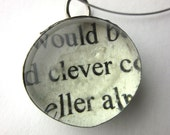 Clever Necklace, book page necklace, literary necklace