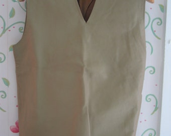 60s Leather Shirt or Vest Short Fringe Lined with Side Zipper Very Cool