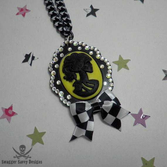 SALE Pastel Goth Lady Death Cameo Necklace