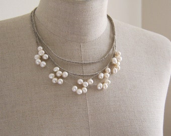 Set of 2 Linen Necklaces .White Freshwater Pearls.