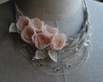 OOAK Linen Necklace. ROSE. Ready to ship .