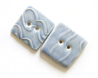 Ice Blue Ripple Ceramic Buttons, Handmade, Large Square, x 2