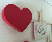 Heart Art Display Clips, Heart Art Cable, Red Heart, eco friendly